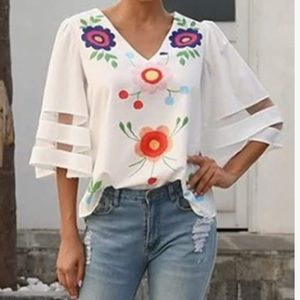 Women 3/4 Sleeve Floral Chiffon Tops Casual White